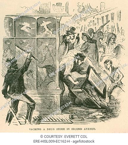 Mob looting of a drug store on Second Avenue during Draft Riots in New York City of July 13-16, 1863. The riots started as protest against a federal...