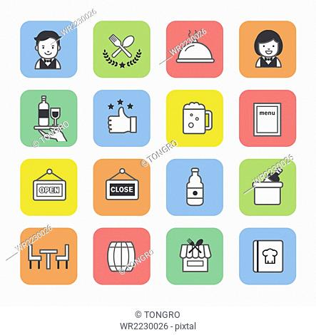 Collection of icons related to restaurant