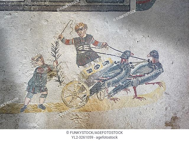 Close up picture of the Roman mosaics of the room of the Small Circus depicting Roman boys riding small chariots pulled by pigeons in a small circus