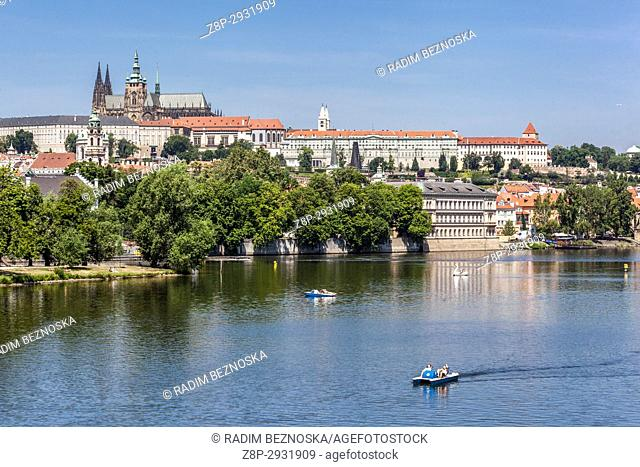 Panorama of Prague with the Cathedral of St. Vitus at the Prague Castle over the Vltava River