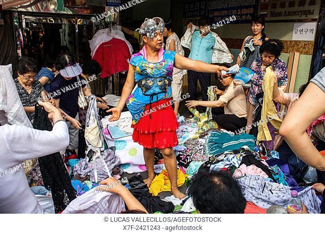 Clothing store in Namdaemun Market, Seoul, South Korea