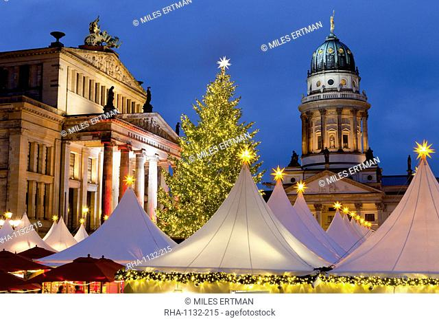 The Gendarmenmarkt Christmas Market, Theatre, and French Cathedral, Berlin, Germany, Europe