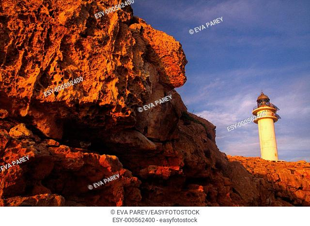 The lighthouse of Cap of Barbaria in the Formentera Island Baleares, Spain