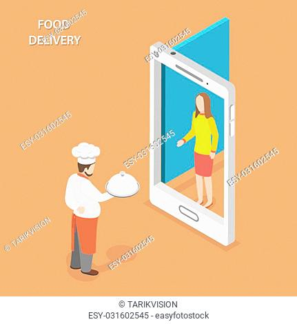 Food delivery flat isometric vector concept. Chef stays with the dish on his hand near the door that looks like a smartphone and gives the it to the woman