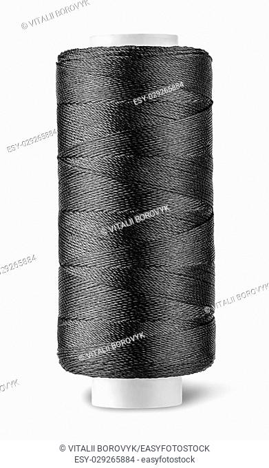 Black thread on the coil vertically isolated on white background