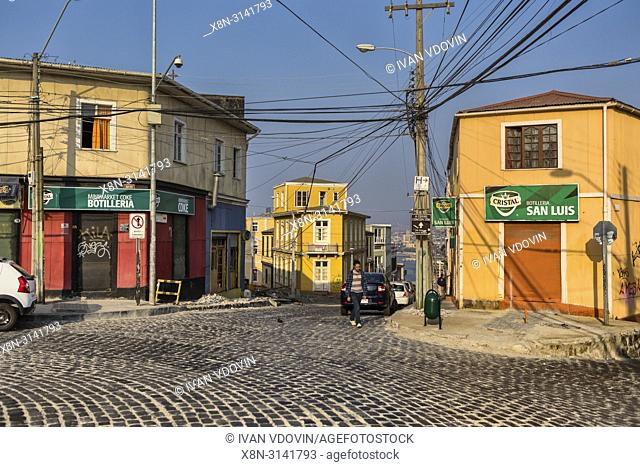 Street in upper town, Valparaiso, Chile