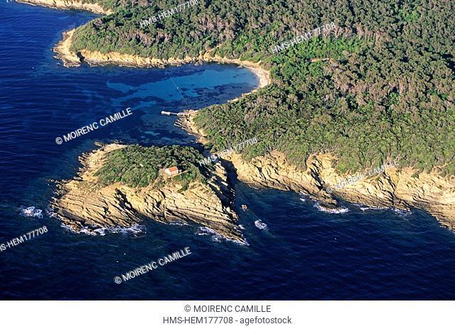 France, Var, Ile de Port Cros, Pointe de la Malalongue aerial view