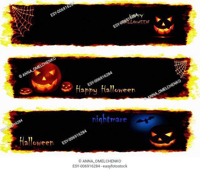 Halloween set of scary banners, conceptual image of celebration & holiday