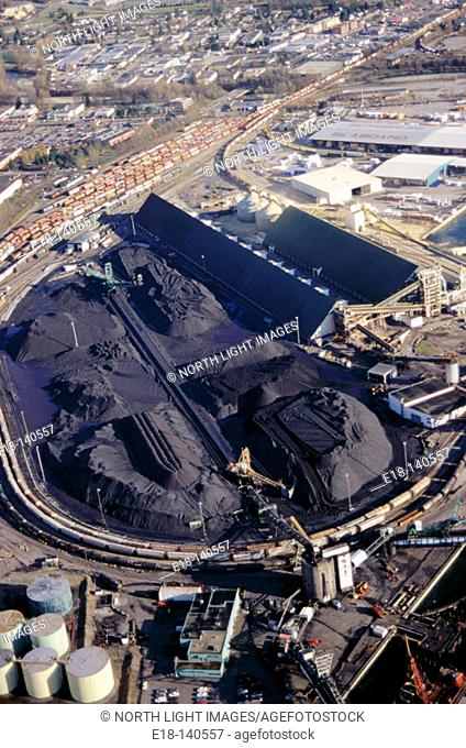 Coal piles. Neptune Terminal. Vancouver harbor. Canada