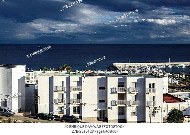 A white houses high view in Carboneras town, Almeria, Spain