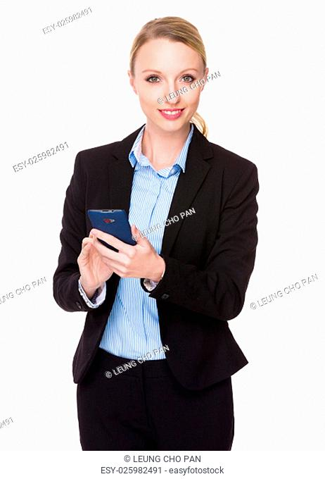 Caucasian young businesswoman use of the cellphone