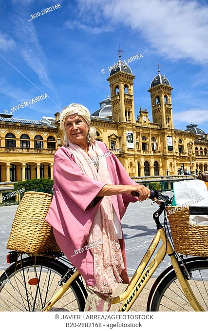 Ane Guisasola, Actress on a bicycle, Town Hall, Alderdi Eder Park, Donostia, San Sebastian, Gipuzkoa, Basque Country, Spain, Europe