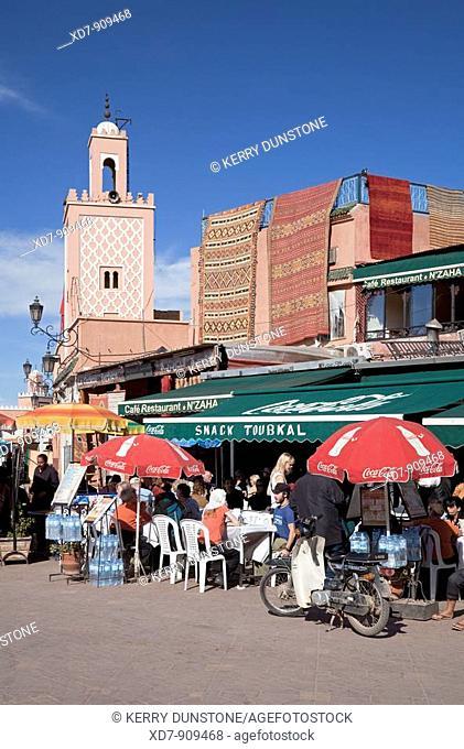 Morocco Marrakesh Place Djemaa el-Fna with cafés and restaurants