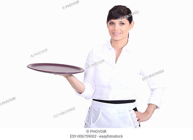 Waitress with an empty tray