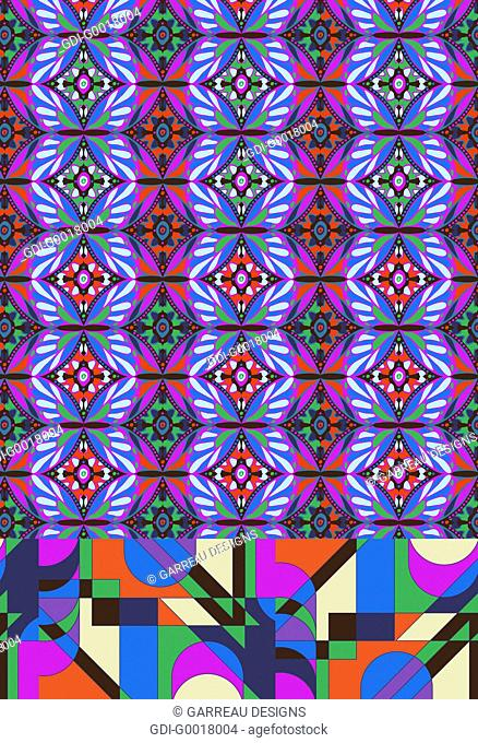 Colorful repeating pattern of geometric shapes