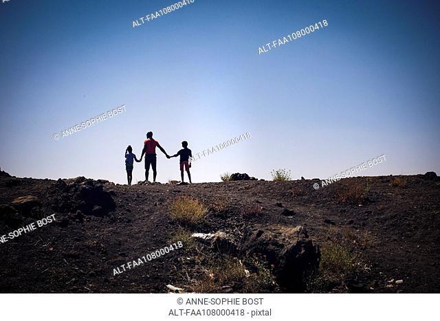 Family with two children enjoying natural splendor
