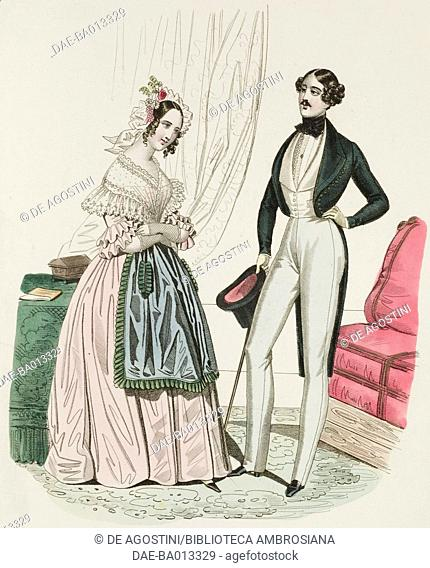 Female sketch with apron and hat and male sketch with white trousers and walking stick, plate 50 taken from Parisian Fashion