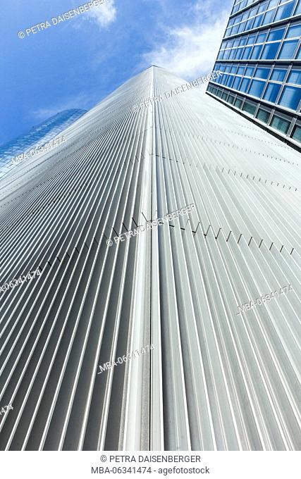 A detailed view of an exterior facade of a skyscraper in Frankfurt
