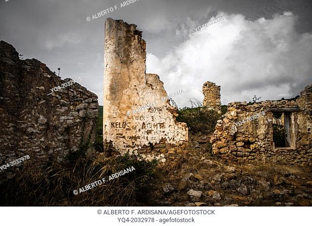 House in ruins with clouds background in the province of Tarragona. Catalonia. Spain