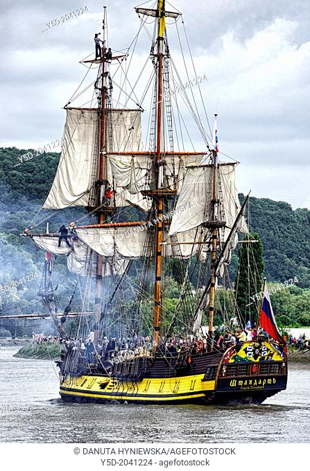 Shtandart - three-masted square-rigged Russian ship, Armada 2013 - cruise of biggest sailing vessels in the world on Seine river from Rouen to Atlantic Ocean