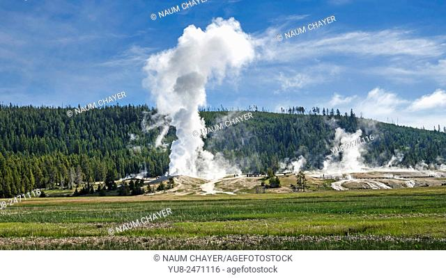 Landscape with geysers, Yellowstone National Park, Wyoming, USA