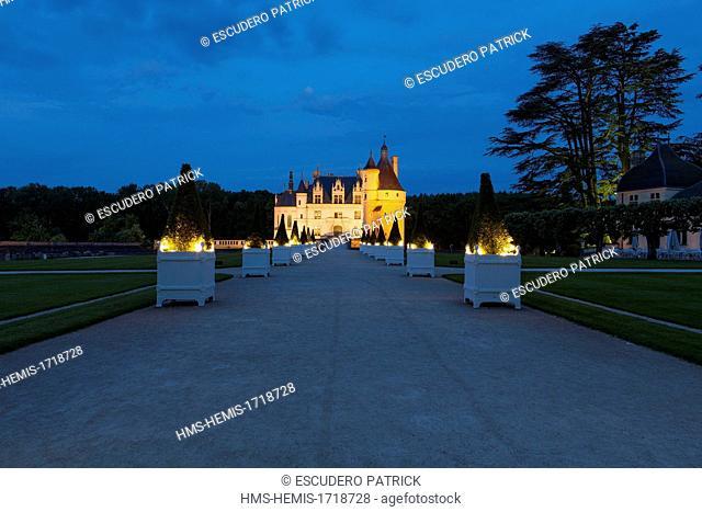 France, Indre et Loire, Chateau de Chenonceau illuminated at night