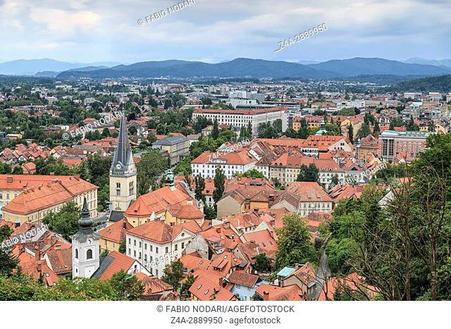 Aerial view of Ljubljana the capital of Slovenia