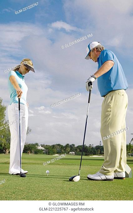 Two golfer standing in a golf course, Biltmore Golf Course, Coral Gables, Florida, USA