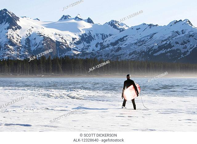 Surfer standing in the ocean along the Kenai Peninsula Outer Coast, South-central Alaska; Alaska, United States of America