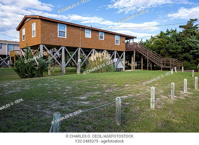 Outer Banks, Avon, North Carolina. House Built on Stilts to avoid Storm Surge from nearby Beach