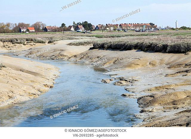 muddy stream, Le Hourdel, Somme bay, Picardy, France