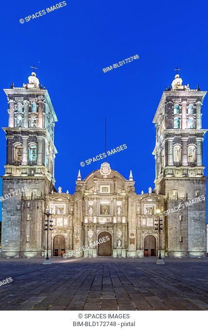 Puebla Cathedral at night, Puebla, Puebla, Mexico