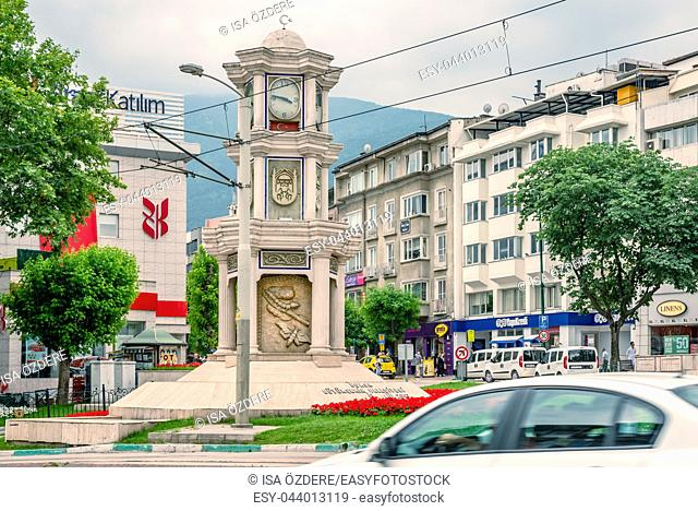 View of Historical ancient old Clock Tower in city center of Bursa,Turkey. 20 May 2018