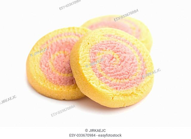 colored butter biscuits on white background