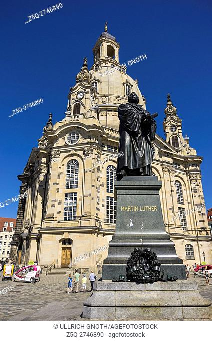 Doktor Martin Luther Memorial after Ernst Rietschel in front of Frauenkirche Church in the city of Dresden, Saxony, Germany