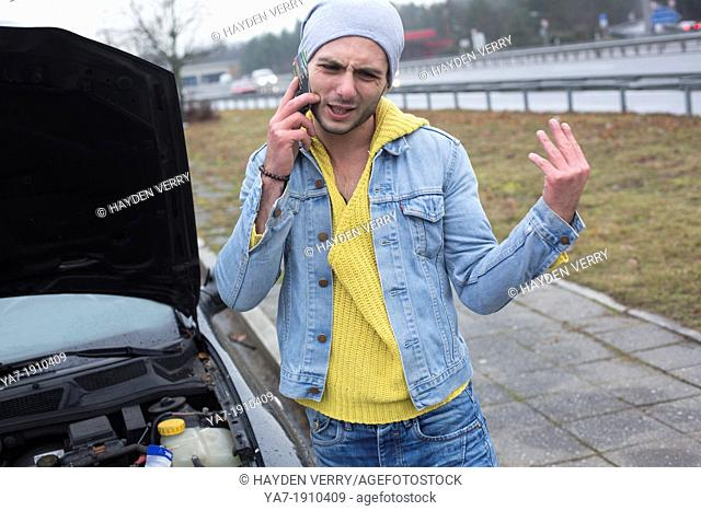 Angry Man With broken Down Car