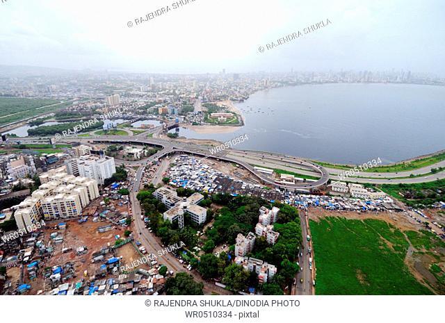 aerial view of bandra mahim creek with bombay mumbai skyline , Maharashtra , India