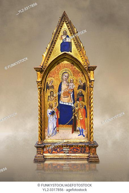 Gothic altarpiece of Madonna and Child by Niccolo di Tommaso, circa 1362-1367, tempera and gold leaf on wood. National Museum of Catalan Art, Barcelona, Spain