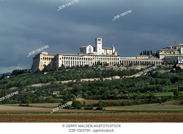 The basillica of St  Francis of Assissi in Umbria in Italy