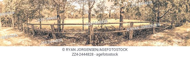 Large format 3 horizontal image photo-merger of a rustic wooden outback australian fenceline. Taken Deception Bay, Queensland
