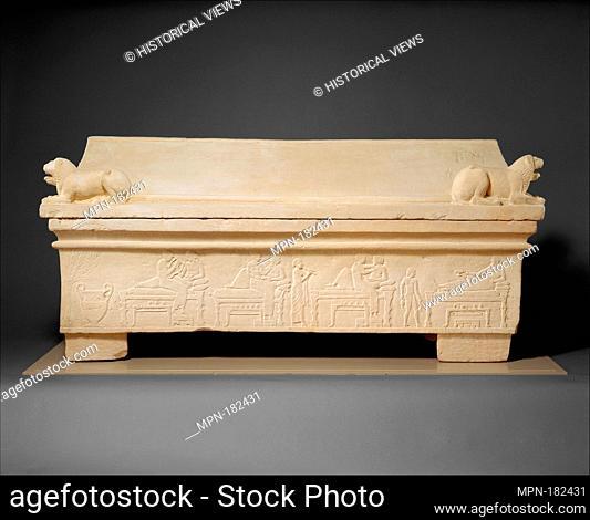 Limestone sarcophagus. Period: Classical; Date: ca. 475-460 B.C; Culture: Cypriot; Medium: Limestone; Dimensions: Overall: 38 x 79 9/16in. (96