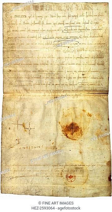 Diploma of Philip I in favor of the Abbey of St. Crépin in Soissons, with signature by Anne of Kiev, Queen of France, 1063