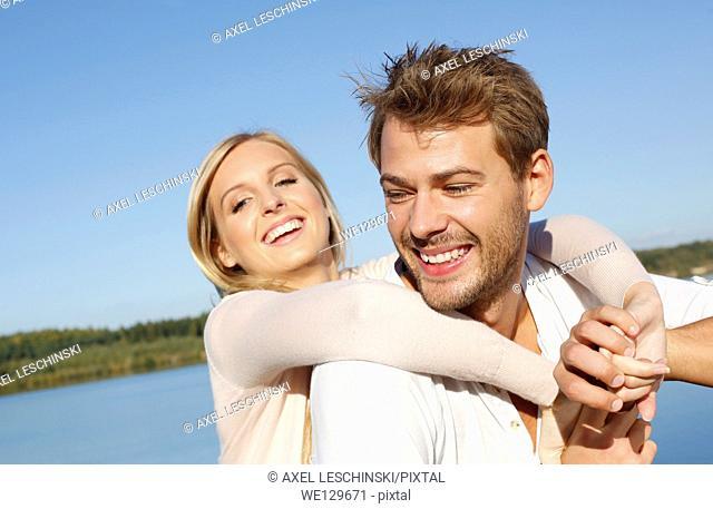 Woman and man having fun