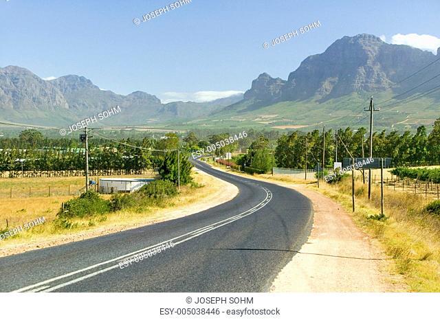 Empty road to Stellenbosch wine region, outside of Cape Town, South Africa