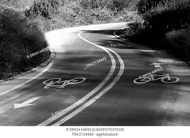 Bicycle path leads from darkness to light / Memmingen, Germany