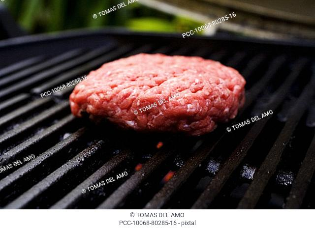 Barbecue scene, hamburger patty on the grill