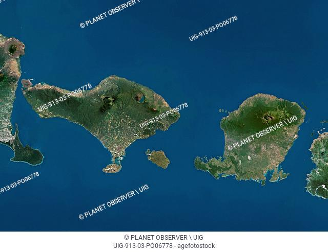 Satellite view of Bali and Lombok. This image was compiled from data acquired by Landsat satellites