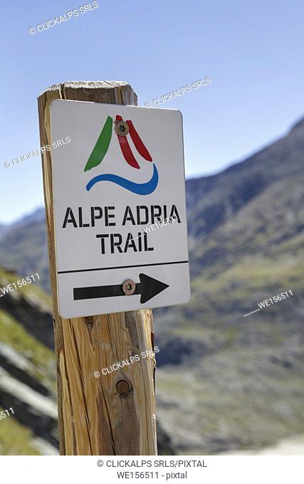 Europe, Austria, Carinthia, High Tauern, Grossglockner. Signal of the Alpe Adria trail starting from Kaiser Franz Josefs Höhe