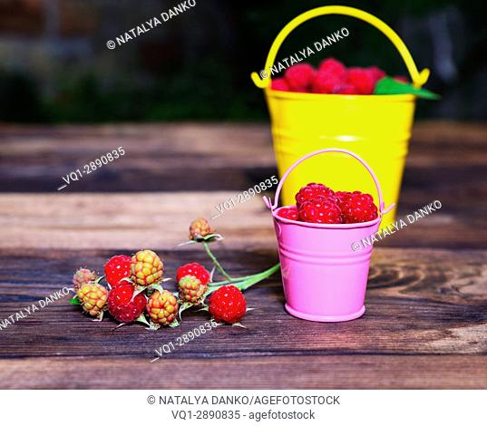 Ripe red raspberry in a bucket and branch with fruits on a brown wooden background