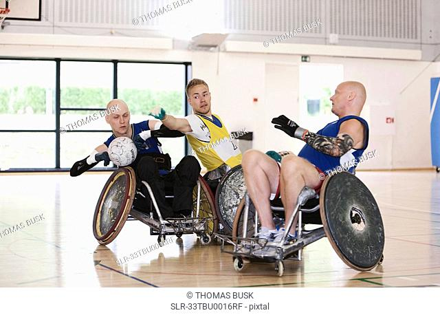 Para rugby players playing rugby
